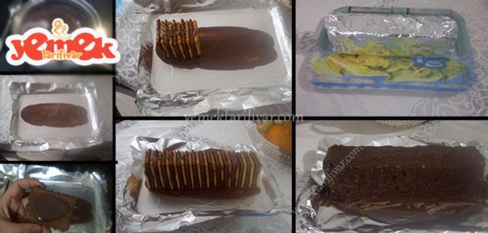 iki renkli bisküvili pasta nasıl yapılır