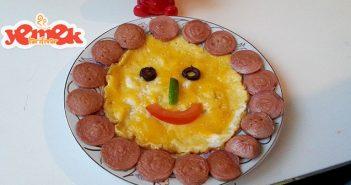eğlenceli sosisli çiçek yumurta tarifi