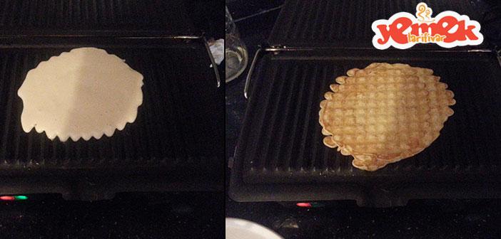 tost makinasında waffle yapımı